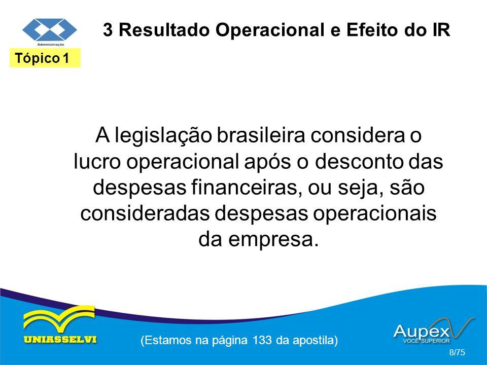 3 Resultado Operacional e Efeito do IR A legislação brasileira considera o lucro operacional após o desconto das despesas financeiras, ou seja, são co
