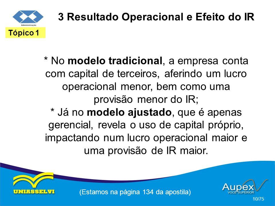 * No modelo tradicional, a empresa conta com capital de terceiros, aferindo um lucro operacional menor, bem como uma provisão menor do IR; * Já no mod