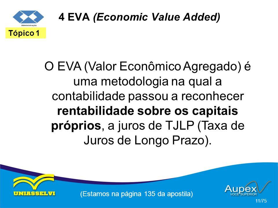 4 EVA (Economic Value Added) O EVA (Valor Econômico Agregado) é uma metodologia na qual a contabilidade passou a reconhecer rentabilidade sobre os cap