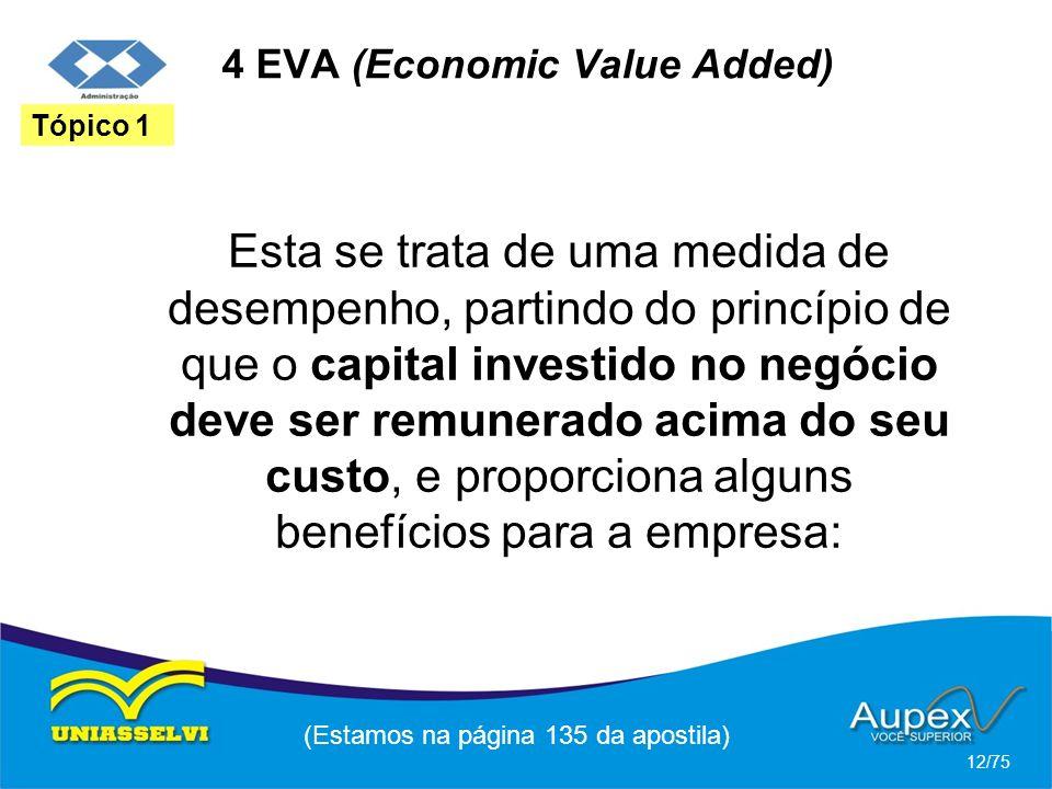 4 EVA (Economic Value Added) Esta se trata de uma medida de desempenho, partindo do princípio de que o capital investido no negócio deve ser remunerad