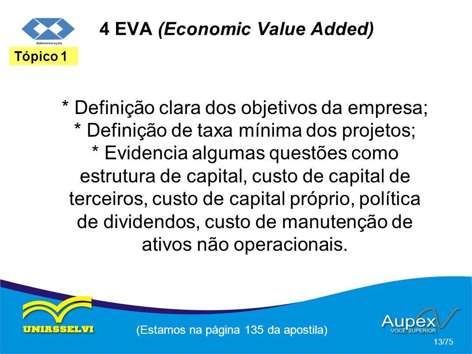 4 EVA (Economic Value Added) * Definição clara dos objetivos da empresa; * Definição de taxa mínima dos projetos; * Evidencia algumas questões como es