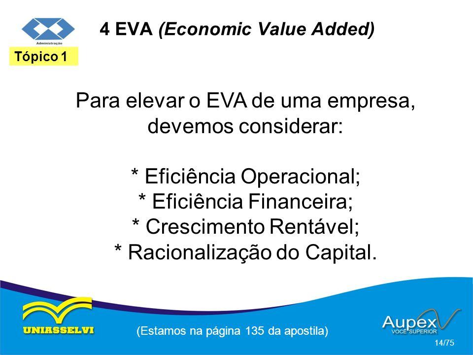 4 EVA (Economic Value Added) Para elevar o EVA de uma empresa, devemos considerar: * Eficiência Operacional; * Eficiência Financeira; * Crescimento Re