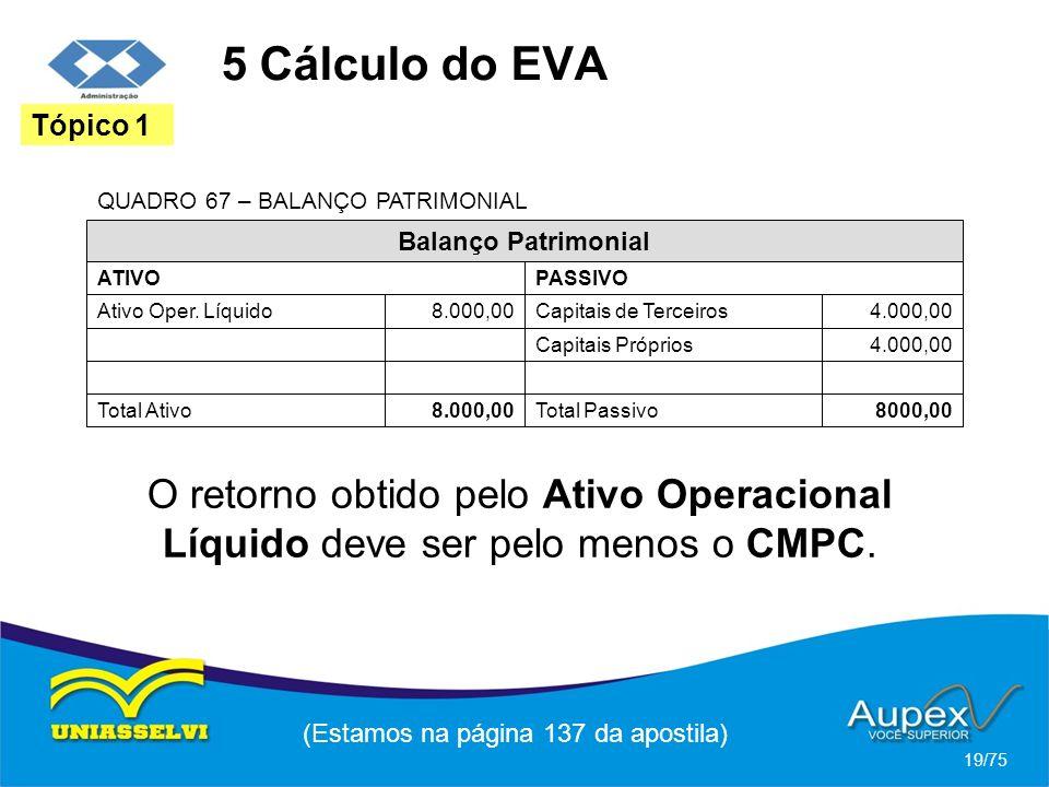 5 Cálculo do EVA (Estamos na página 137 da apostila) 19/75 Tópico 1 Balanço Patrimonial ATIVO Ativo Oper. Líquido8.000,00 PASSIVO Capitais de Terceiro
