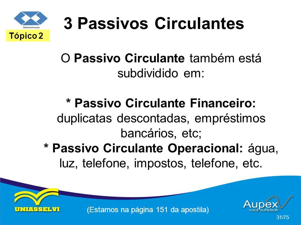 3 Passivos Circulantes (Estamos na página 151 da apostila) 31/75 Tópico 2 O Passivo Circulante também está subdividido em: * Passivo Circulante Financ