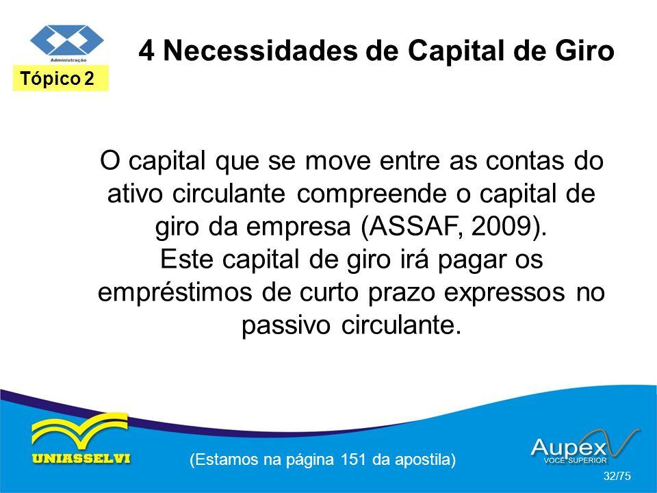 4 Necessidades de Capital de Giro (Estamos na página 151 da apostila) 32/75 Tópico 2 O capital que se move entre as contas do ativo circulante compree