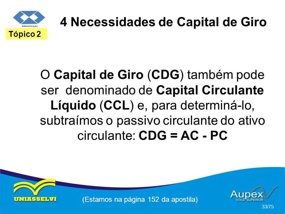 4 Necessidades de Capital de Giro (Estamos na página 152 da apostila) 33/75 Tópico 2 O Capital de Giro (CDG) também pode ser denominado de Capital Cir