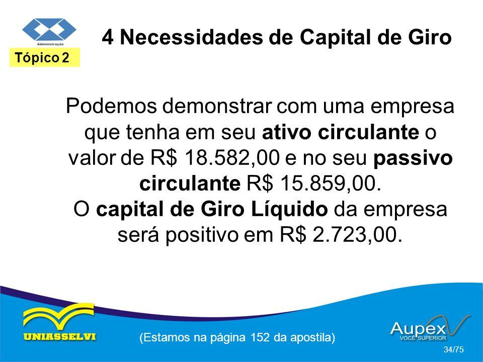 4 Necessidades de Capital de Giro (Estamos na página 152 da apostila) 34/75 Tópico 2 Podemos demonstrar com uma empresa que tenha em seu ativo circula