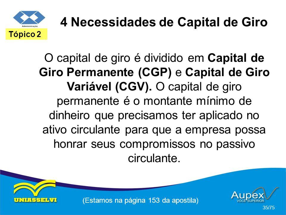 4 Necessidades de Capital de Giro (Estamos na página 153 da apostila) 35/75 Tópico 2 O capital de giro é dividido em Capital de Giro Permanente (CGP)