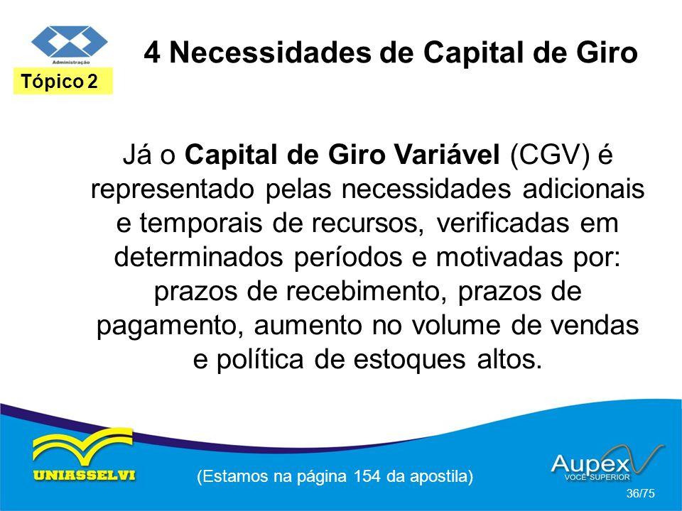 4 Necessidades de Capital de Giro (Estamos na página 154 da apostila) 36/75 Tópico 2 Já o Capital de Giro Variável (CGV) é representado pelas necessid