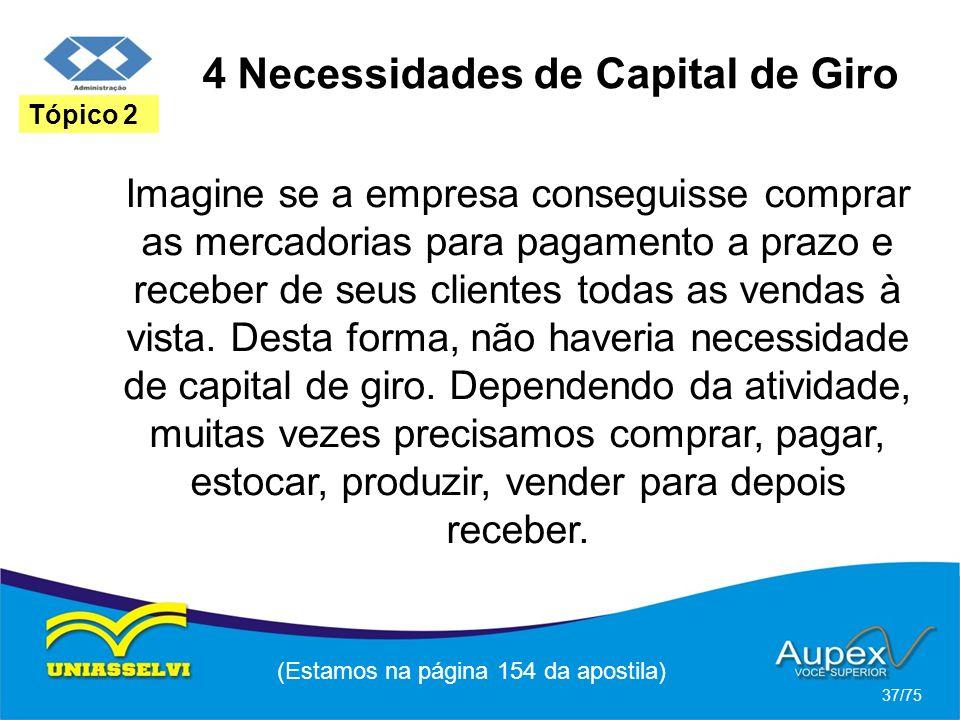 4 Necessidades de Capital de Giro (Estamos na página 154 da apostila) 37/75 Tópico 2 Imagine se a empresa conseguisse comprar as mercadorias para paga