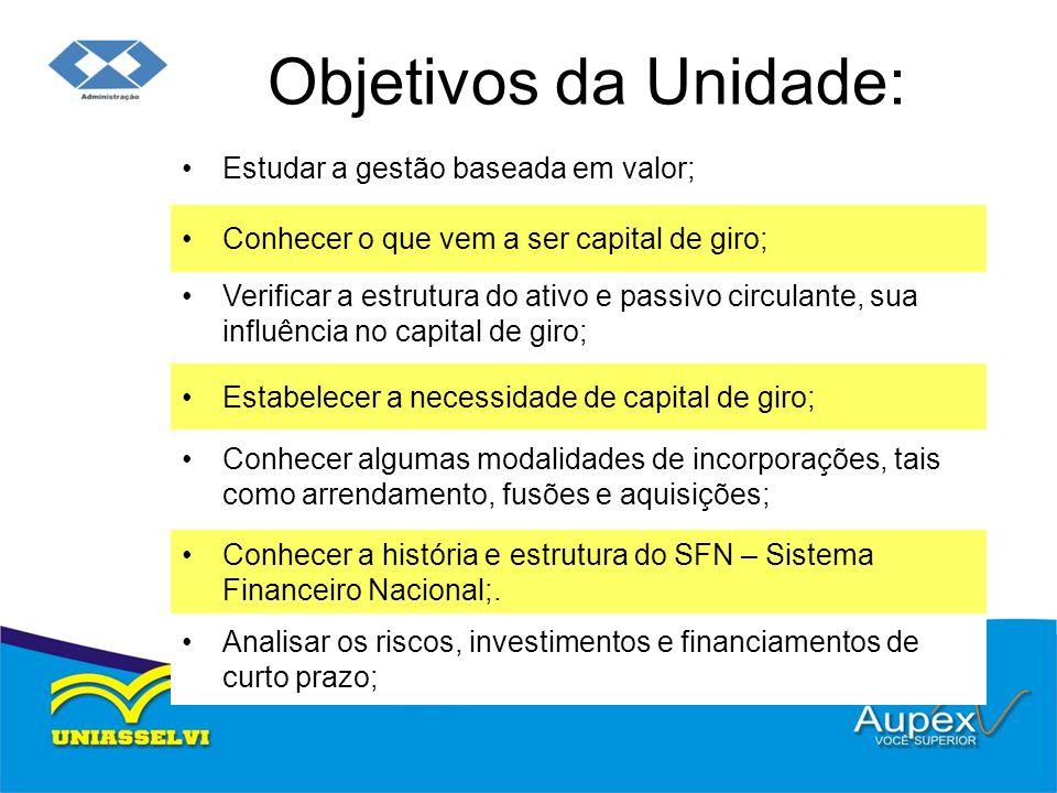 Objetivos da Unidade: Estudar a gestão baseada em valor; Conhecer o que vem a ser capital de giro; Verificar a estrutura do ativo e passivo circulante