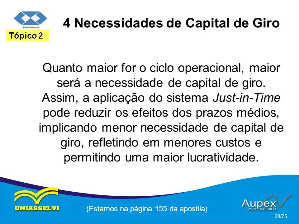 4 Necessidades de Capital de Giro (Estamos na página 155 da apostila) 38/75 Tópico 2 Quanto maior for o ciclo operacional, maior será a necessidade de