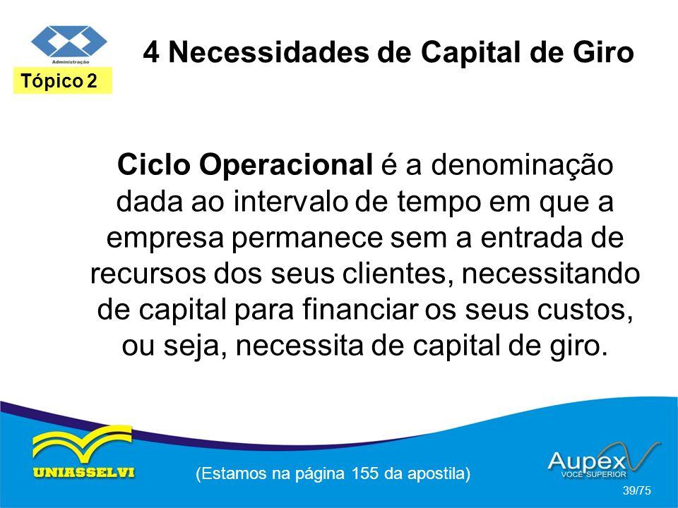 4 Necessidades de Capital de Giro (Estamos na página 155 da apostila) 39/75 Tópico 2 Ciclo Operacional é a denominação dada ao intervalo de tempo em q