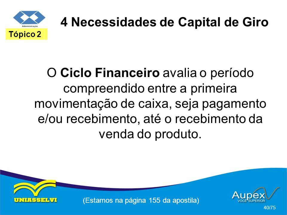 4 Necessidades de Capital de Giro (Estamos na página 155 da apostila) 40/75 Tópico 2 O Ciclo Financeiro avalia o período compreendido entre a primeira