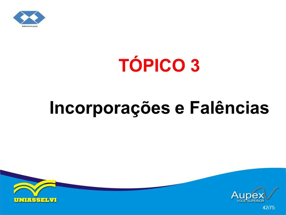 TÓPICO 3 Incorporações e Falências 42/75