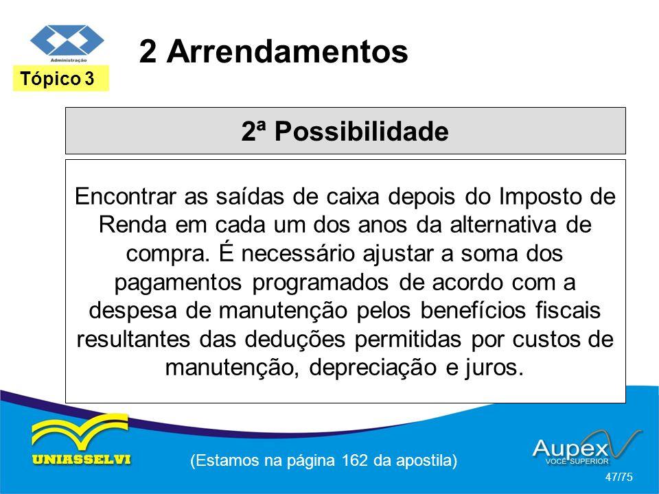 2 Arrendamentos (Estamos na página 162 da apostila) 47/75 Tópico 3 2ª Possibilidade Encontrar as saídas de caixa depois do Imposto de Renda em cada um