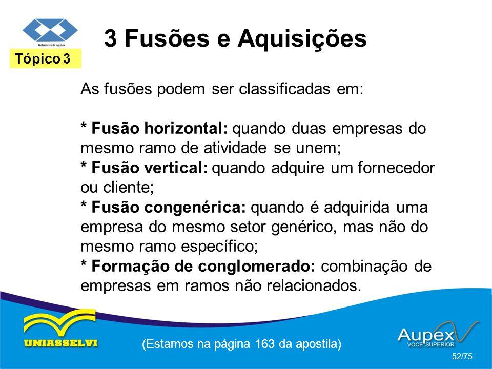 3 Fusões e Aquisições (Estamos na página 163 da apostila) 52/75 Tópico 3 As fusões podem ser classificadas em: * Fusão horizontal: quando duas empresa