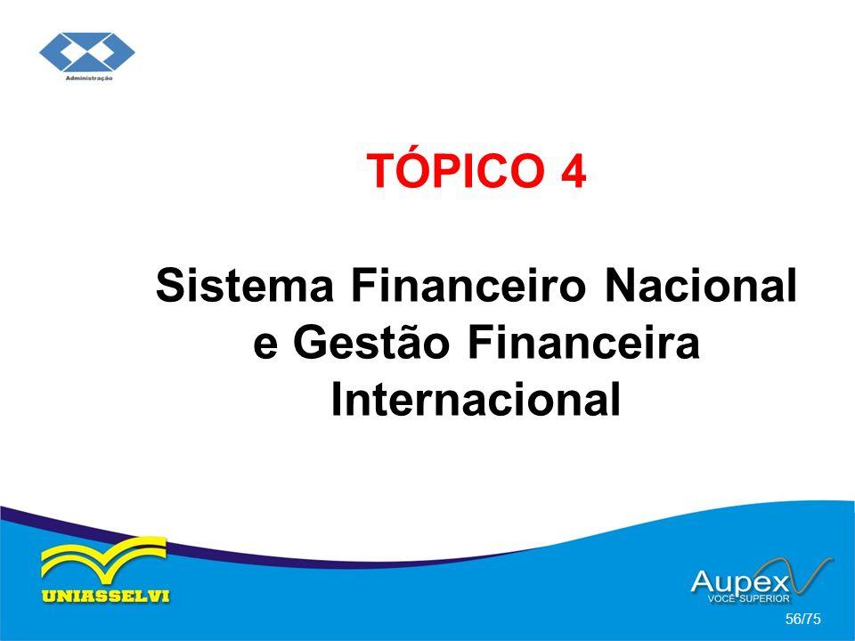 TÓPICO 4 Sistema Financeiro Nacional e Gestão Financeira Internacional 56/75