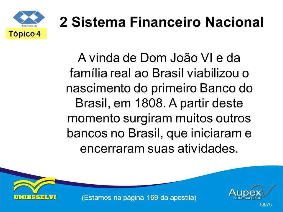 2 Sistema Financeiro Nacional (Estamos na página 169 da apostila) 58/75 Tópico 4 A vinda de Dom João VI e da família real ao Brasil viabilizou o nasci