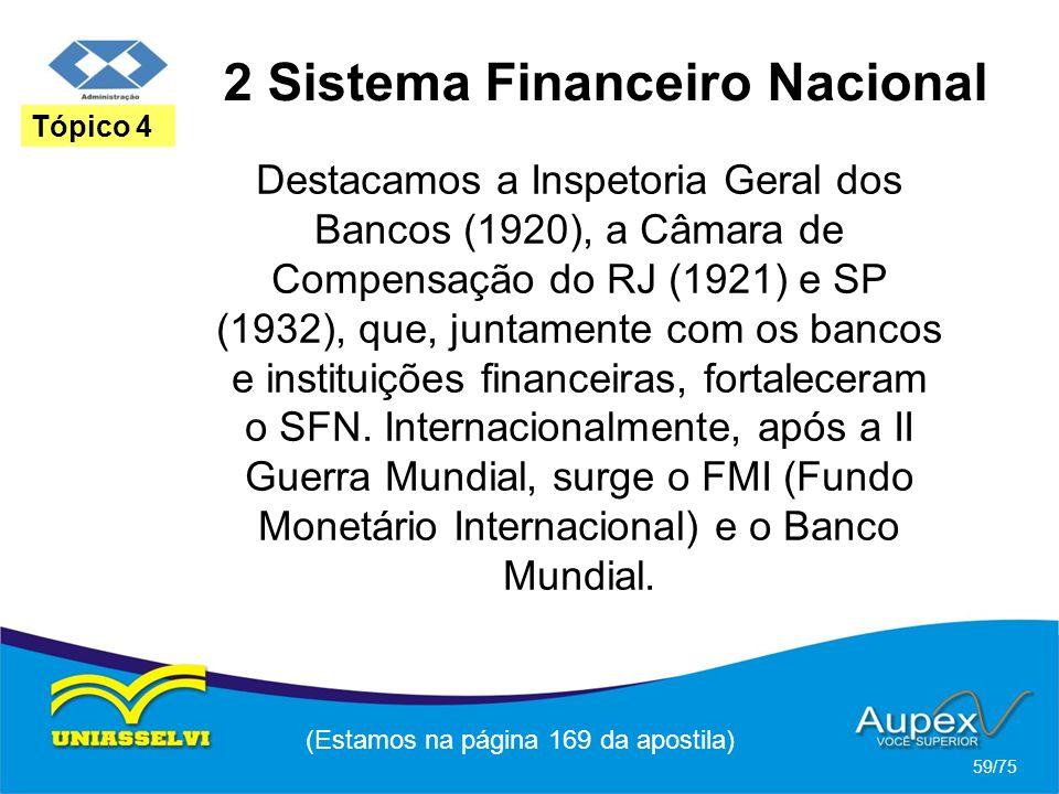 2 Sistema Financeiro Nacional (Estamos na página 169 da apostila) 59/75 Tópico 4 Destacamos a Inspetoria Geral dos Bancos (1920), a Câmara de Compensa
