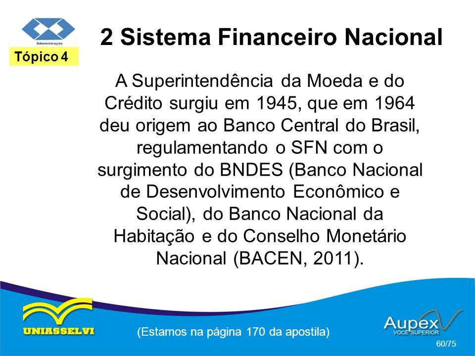 2 Sistema Financeiro Nacional (Estamos na página 170 da apostila) 60/75 Tópico 4 A Superintendência da Moeda e do Crédito surgiu em 1945, que em 1964
