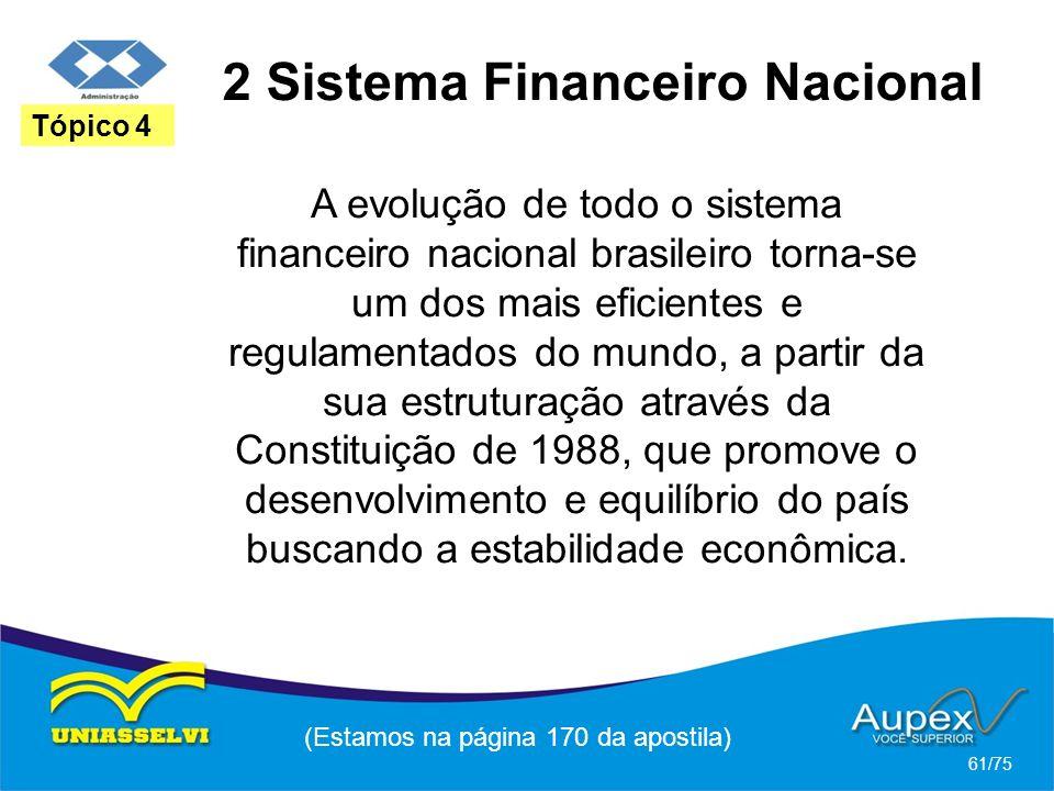 2 Sistema Financeiro Nacional (Estamos na página 170 da apostila) 61/75 Tópico 4 A evolução de todo o sistema financeiro nacional brasileiro torna-se