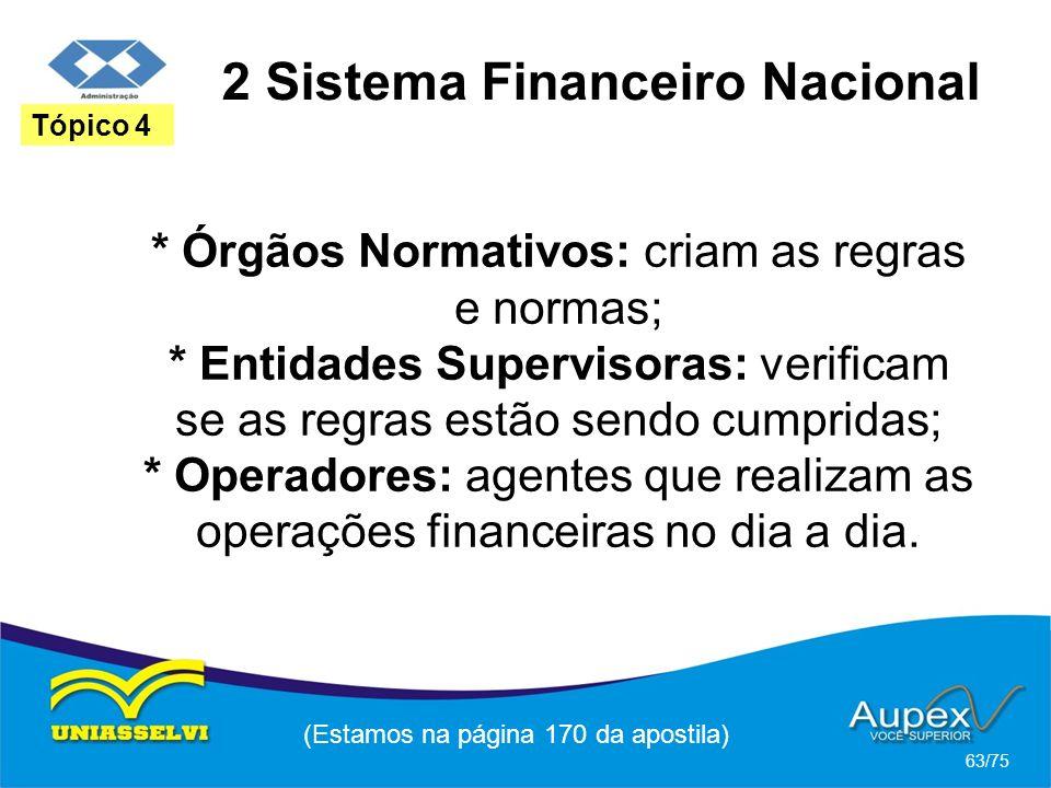 2 Sistema Financeiro Nacional (Estamos na página 170 da apostila) 63/75 Tópico 4 * Órgãos Normativos: criam as regras e normas; * Entidades Supervisor