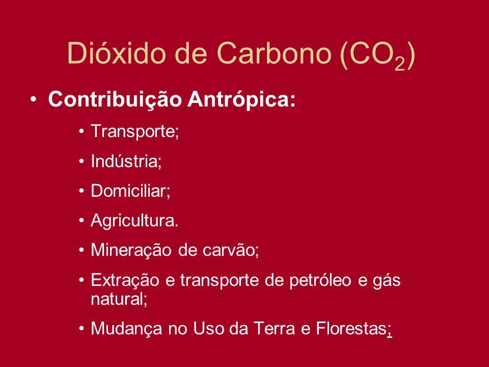 Dióxido de Carbono (CO 2 ) Contribuição Antrópica: Transporte; Indústria; Domiciliar; Agricultura. Mineração de carvão; Extração e transporte de petró