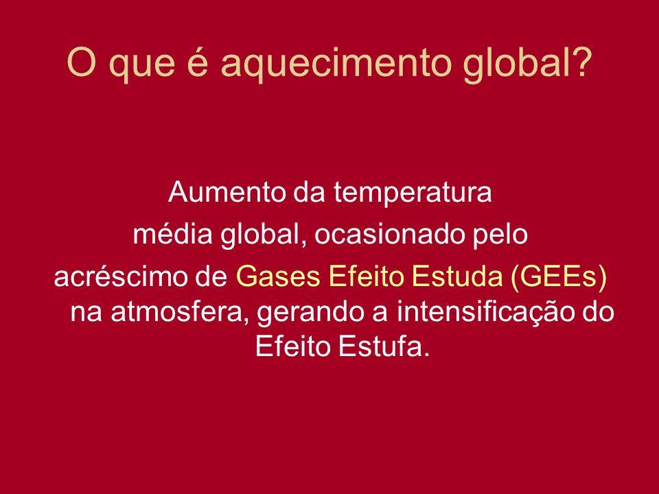 O que é aquecimento global? Aumento da temperatura média global, ocasionado pelo acréscimo de Gases Efeito Estuda (GEEs) na atmosfera, gerando a inten