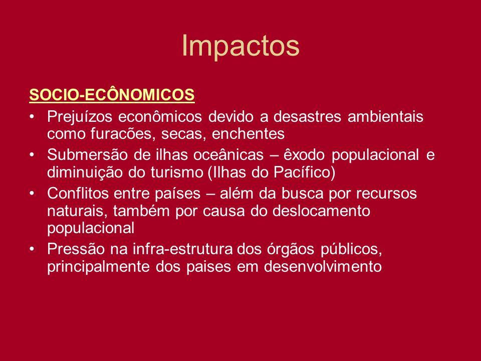 SOCIO-ECÔNOMICOS Prejuízos econômicos devido a desastres ambientais como furacões, secas, enchentes Submersão de ilhas oceânicas – êxodo populacional