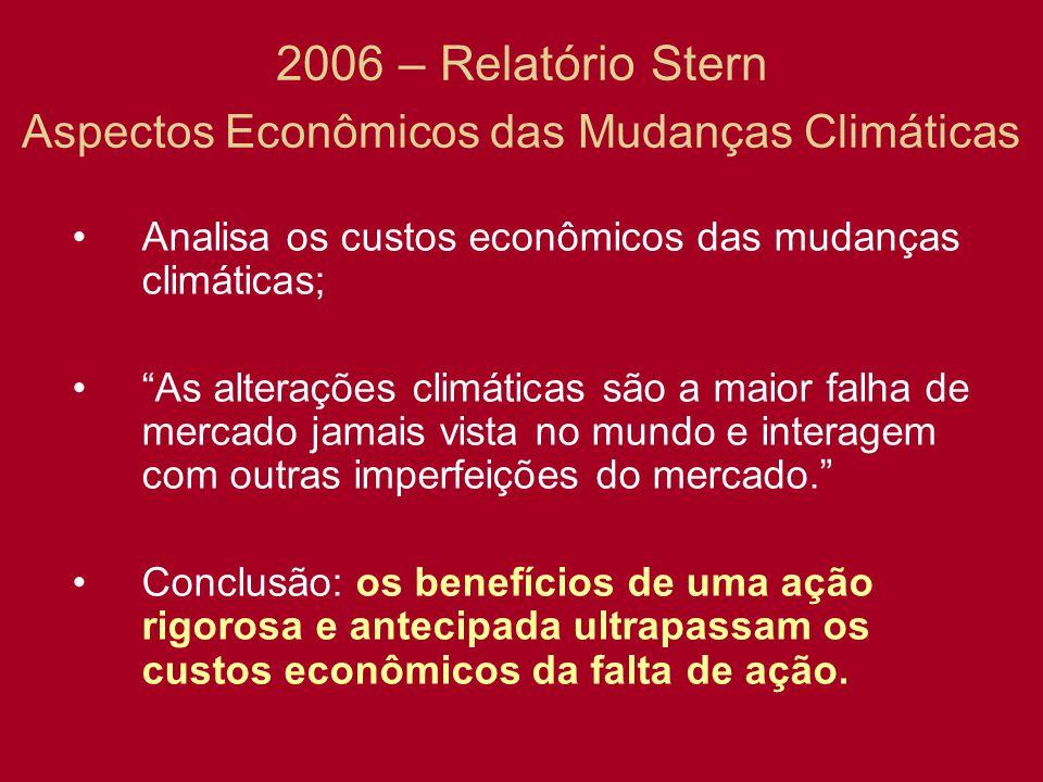 2006 – Relatório Stern Aspectos Econômicos das Mudanças Climáticas Analisa os custos econômicos das mudanças climáticas; As alterações climáticas são