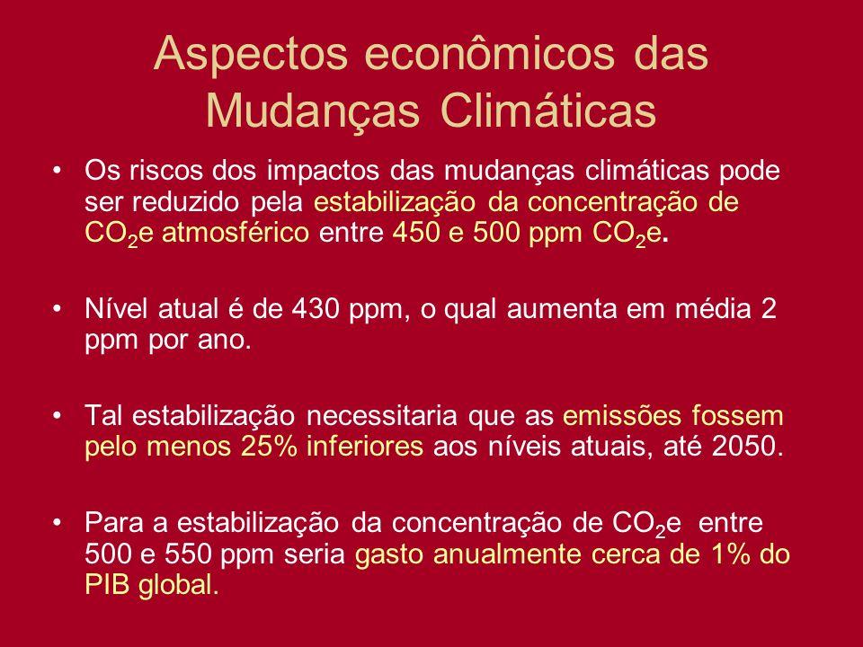 Os riscos dos impactos das mudanças climáticas pode ser reduzido pela estabilização da concentração de CO 2 e atmosférico entre 450 e 500 ppm CO 2 e.