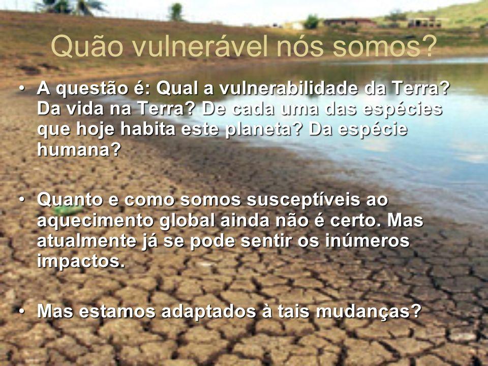 A questão é: Qual a vulnerabilidade da Terra? Da vida na Terra? De cada uma das espécies que hoje habita este planeta? Da espécie humana?A questão é: