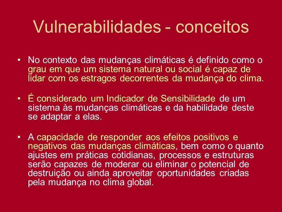 Vulnerabilidades - conceitos No contexto das mudanças climáticas é definido como o grau em que um sistema natural ou social é capaz de lidar com os es