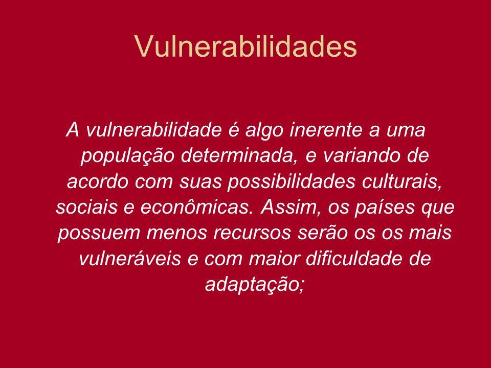Vulnerabilidades A vulnerabilidade é algo inerente a uma população determinada, e variando de acordo com suas possibilidades culturais, sociais e econ