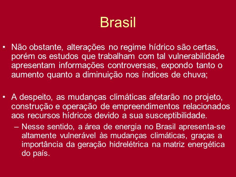 Brasil Não obstante, alterações no regime hídrico são certas, porém os estudos que trabalham com tal vulnerabilidade apresentam informações controvers