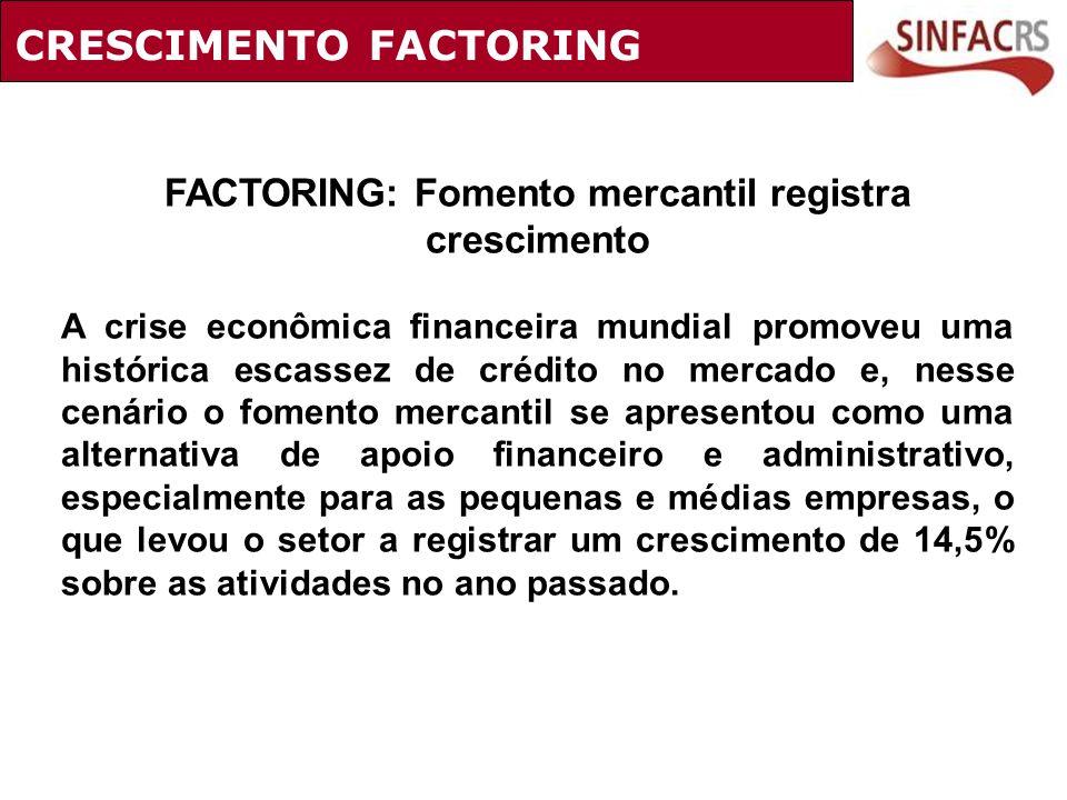 CRESCIMENTO FACTORING FACTORING: Fomento mercantil registra crescimento A crise econômica financeira mundial promoveu uma histórica escassez de crédit