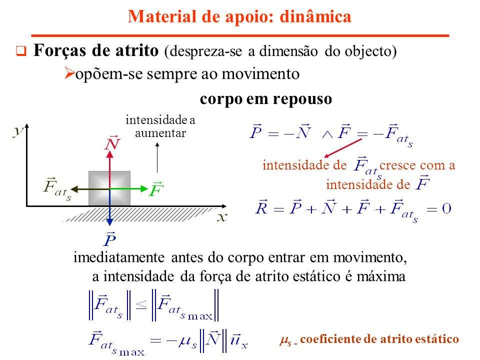 Forças de atrito (despreza-se a dimensão do objecto) opõem-se sempre ao movimento corpo em repouso Material de apoio: dinâmica s - coeficiente de atri