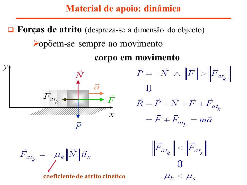 Material de apoio: dinâmica coeficiente de atrito cinético Forças de atrito (despreza-se a dimensão do objecto) opõem-se sempre ao movimento corpo em