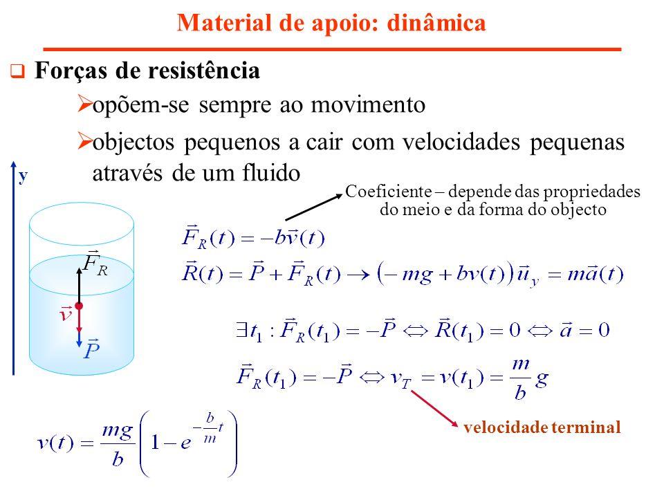 Material de apoio: dinâmica Forças de resistência opõem-se sempre ao movimento objectos pequenos a cair com velocidades pequenas através de um fluido