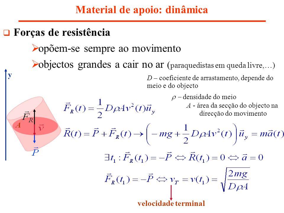 Material de apoio: dinâmica Forças de resistência opõem-se sempre ao movimento objectos grandes a cair no ar ( paraquedistas em queda livre,…) D – coe