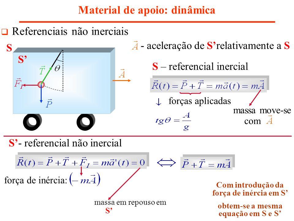 Material de apoio: dinâmica Referenciais não inerciais - aceleração de Srelativamente a S S – referencial inercial forças aplicadas S- referencial não