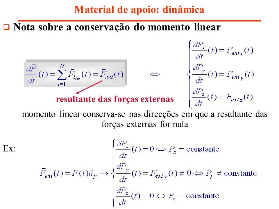 Nota sobre a conservação do momento linear Material de apoio: dinâmica momento linear conserva-se nas direcções em que a resultante das forças externa