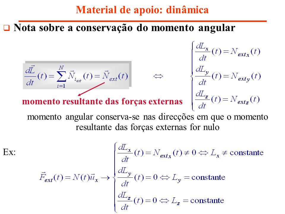 Nota sobre a conservação do momento angular Material de apoio: dinâmica momento angular conserva-se nas direcções em que o momento resultante das forç