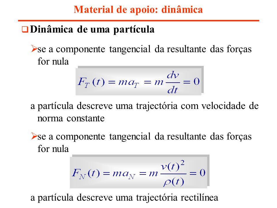 Material de apoio: dinâmica Dinâmica de uma partícula se a componente tangencial da resultante das forças for nula a partícula descreve uma trajectóri