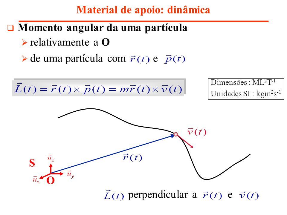 Momento angular taxa de variação de Material de apoio: dinâmica vector posição da partícula e do ponto de aplicação da resultante das força momento da força relativamente a O Momento angular conserva-se: partícula livre forças centrais resultante das forças aplicadas à partícula Dimensões : ML 2 T -2 Unidades SI : Nm
