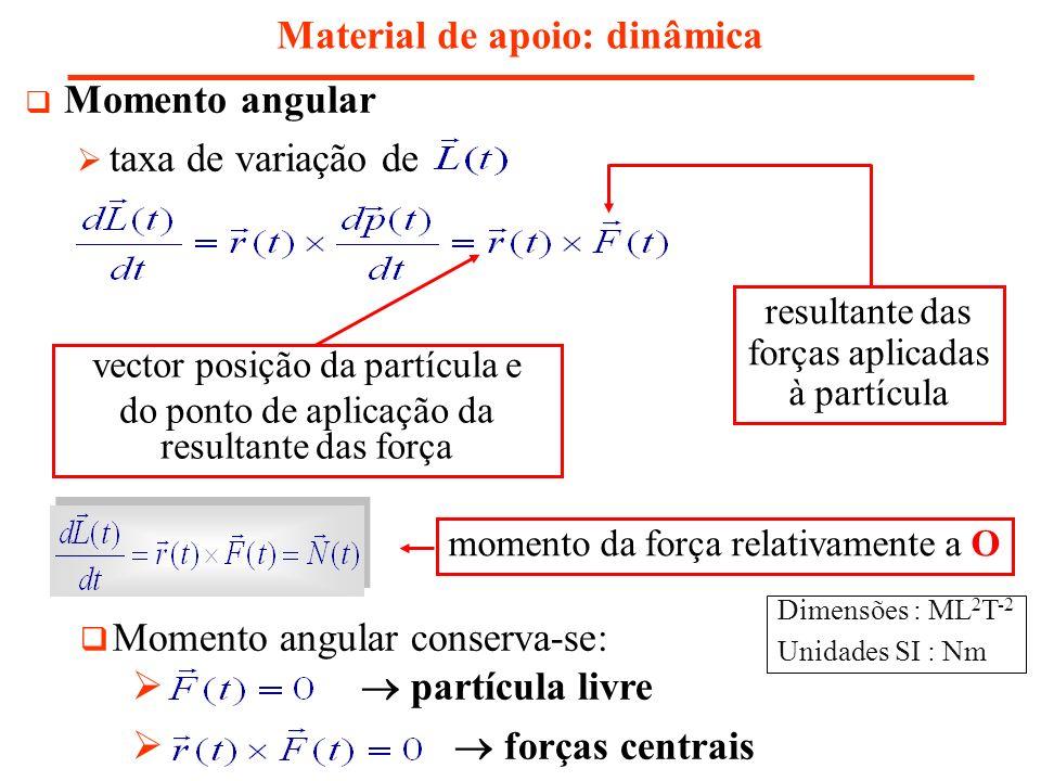 Nota sobre a conservação do momento angular Material de apoio: dinâmica momento angular conserva-se nas direcções em que o momento resultante das forças externas for nulo Ex: momento resultante das forças externas