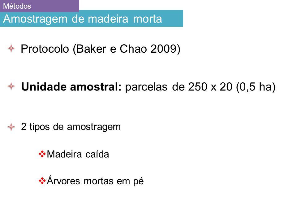 Amostragem de madeira morta Métodos Unidade amostral: parcelas de 250 x 20 (0,5 ha) 2 tipos de amostragem Madeira caída Árvores mortas em pé Protocolo (Baker e Chao 2009)