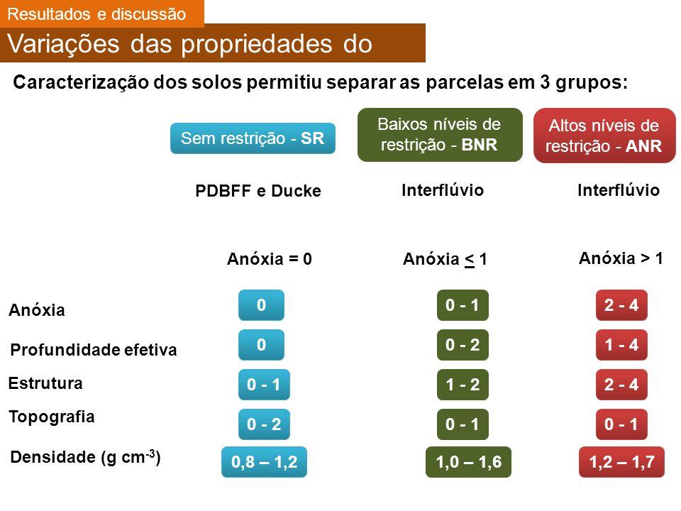 Variações das propriedades do solo Caracterização dos solos permitiu separar as parcelas em 3 grupos: Sem restrição - SR Baixos níveis de restrição - BNR Altos níveis de restrição - ANR PDBFF e Ducke Interflúvio Anóxia = 0Anóxia < 1 Interflúvio Anóxia > 1 Anóxia 2 - 400 - 1 Profundidade efetiva Estrutura Topografia Densidade (g cm -3 ) 1 - 400 - 2 2 - 4 0 - 11 - 2 0 - 1 0 - 20 - 1 1,2 – 1,7 0,8 – 1,2 1,0 – 1,6 Resultados e discussão