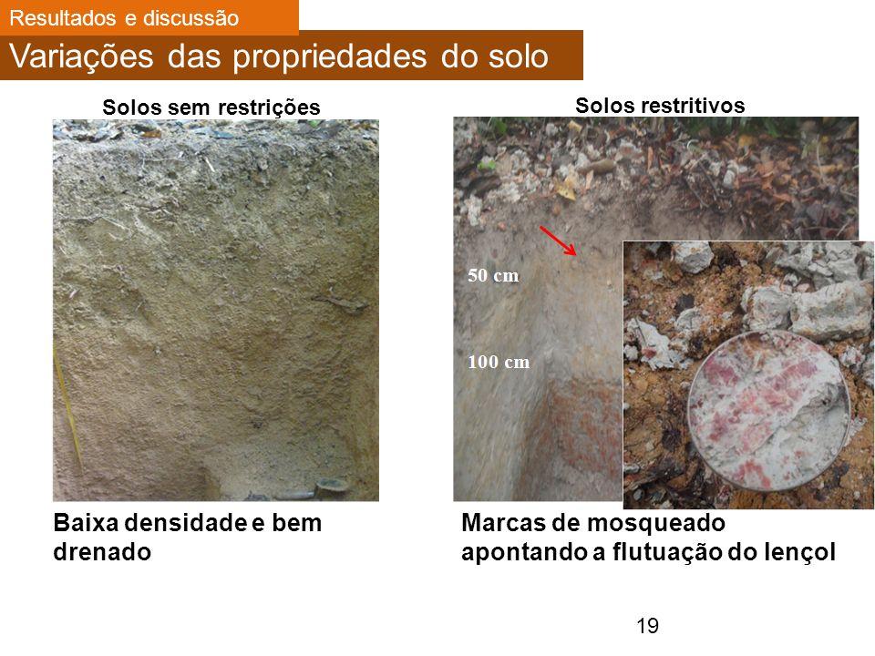 Marcas de mosqueado apontando a flutuação do lençol Variações das propriedades do solo 19 Solos sem restrições Solos restritivos Baixa densidade e bem drenado Resultados e discussão